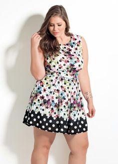 Vestido Quintess (Mix Poá Floral) Plus Size