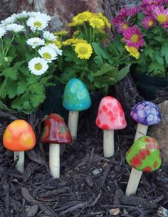 GLAZED TOADSTOOL STAKES (SET OF 6) so cute for the garden!