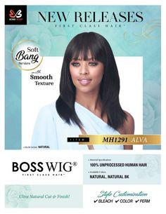 MH1291 Bobbi Boss Hair, Soft Bangs, 100 Human Hair Wigs, Remy Hair Extensions, Perm, Color Show, Natural Hair Styles, Braids, Hair Beauty