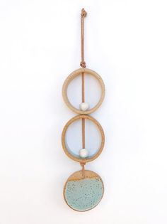 One Of A Kind Wall Hanging / Mint Green Wall Ornament / Ceramic Wall Decor / Bohemian Modern Decor /