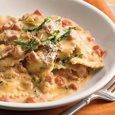 Ravioli with tomato basil cream sauce