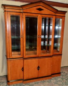 National Mt Airy China Cabinet Lighted Maple Biedermeier Style Vintage Nationalmtairy