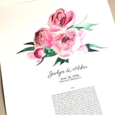 Peony flowers Ketubah - art print Ketubah on archival museum quality cotton paper