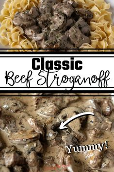 Crock-Pot Beef Stroganoff Is A Delicious Comfort Food Recipe That Is Perfect For A Fall Dinner. Nibbles Of Seared Beef Fall Apart In Your Mouth While Caramelized Mushrooms And The Homemade Stroganoff Cream Sauce Round Out The Perfect Bite. Slow Cooker Recipes, Crockpot Recipes, Cooking Recipes, Easy Recipes, Slow Cooking, Steak Recipes, Classic Beef Stroganoff Recipe, Sprout Recipes