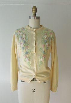 vintage 1950s beaded sweater