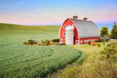 Red Barn in the Palouse by NadeensPhotography on Easy  |   See more images available at my Etsy store.