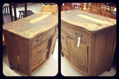 salvaged thrift store dresser, painted furniture, before picture, really bad shape.