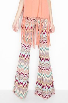 Elastic waist palazzo pants with a wide leg, jersey knit fabric, and colorful print.   Mars Bell Pant by Michael Lauren. Clothing - Bottoms - Pants & Leggings - Flare & Wide Leg Downtown, Los Angeles, California