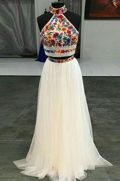 Sweet 16 Dress Two Piece Embroidery Floral Long Prom Dress Halter Sweet 16 Dress Two Pieces Embroidery Floral Long Prom Dress – . Floral Prom Dresses, Prom Dresses Two Piece, Indian Gowns Dresses, Quince Dresses, Mexican Dresses, Tulle Prom Dress, Evening Dresses, Mexican Quinceanera Dresses, Dress Piece