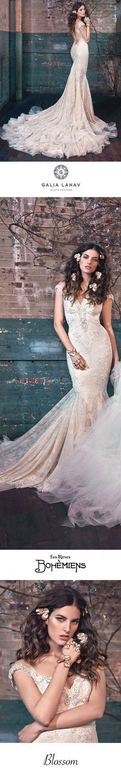 Blossom is a vintage lace mermaid dress. It has a sheer low back with off the shoulder detail. It is extravagant in lace fabric and embroidered in lace accents. The back has a low scoop and is skin bearing. It is ornate in embroidered detail and ruched lo