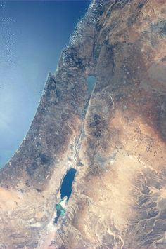 The Dead Sea and The Sea of Galilee. Taken August 18, 2013.  KN from space.