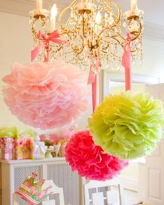 Bright paper flowers are a fun way to decorate your #bridalshower space.