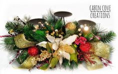 Christmas Candleholder Centerpiece Decorated Floral