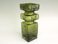 Vintage Tamara Aladin Kehrä Vase - Riihimäen Lasi Glass Vase Kehrä 1496 Green Finland Finnish - 1970s Scandinavian Glass - Sculptural Cased