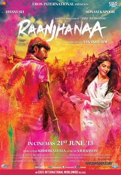 """The first look poster Raanjhanaa with Tamil star Dhanush, Sonam Kapoor and Abhay Deol. The film is an """"intense love story"""" directed by Aanand L Rai and AR Rahman's music. Bollywood Posters, Bollywood Cinema, Bollywood News, Movies Bollywood, Films Hd, Hd Movies, Movies Free, Sonam Kapoor, Hindi Movies Online"""