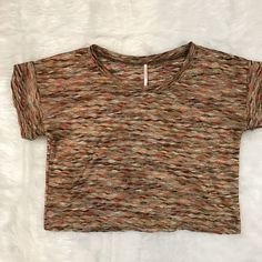 Free People S Textured Crop Top Knit Shirt Short Sleeves Multi Color SMALL EUC  | eBay
