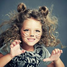 Kids' DIY Costumes For Halloween That Start With Your Makeup Bag ♥ Like the nose on this one, cute idea for kitty makeup for Halloween!