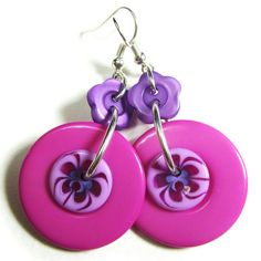 Your place to buy and sell all things handmade Fashion Earrings, Fashion Jewelry, Button Flowers, Bold Fashion, Designer Earrings, Purple Flowers, Color Pop, Hot Pink, Cool Designs