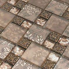 Resin mosaic tile, glass stone blend resin mosaic tiles bathroom - modern - bathroom tile - other metro - My Building Shop Modern Mosaic Tile, Glass Mosaic Tile Backsplash, Modern Bathroom Tile, Mosaic Bathroom, Kitchen Wall Tiles, Mosaic Glass, Cement Tiles, White Bathroom, Kitchen Backsplash
