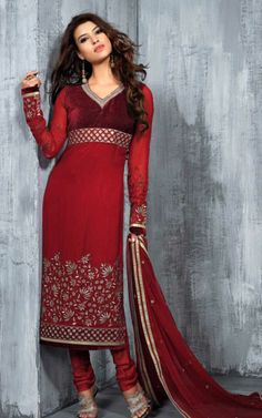 RED GEORGETTE EMBROIDRED SALWAR KAMEEZ - SLF 9667 Salwar Suits, Salwar Kameez, Kurti, Indian Suits, Online Clothing Stores, Red Color, High Neck Dress, Desi Clothes, Formal