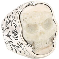 OK I'm not usually a skull fan but this is breathtaking.  King Baby Studio Carved Ivory Skull in Silver Frame Ring
