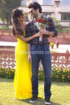 Aditya Roy Kapur and Katrina Kaif during #Fitoor promotions on International Rose Day. #Bollywood #RoseDay #Fashion #Style #Beauty #Hot #Sexy