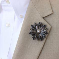 Mens Flower Lapel Pin, Gray Lapel Flower for Men, Mens Lapel Flower, Dark Gray Boutonniere, Gifts for Men, Men's Lapel Pin, Lapel Flower Pin by PetalPerceptions on Etsy https://www.etsy.com/listing/210405092/mens-flower-lapel-pin-gray-lapel-flower