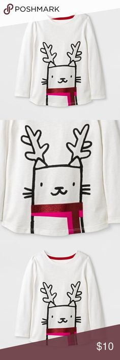 New CAT & JACK Girls' Reindeer Long Sleeve T-Shirt available in size 4T | M (7/8) new without tags color: cream  @cjrose25  more kids clothes in my posh closet. bundle your likes for a discount & save on shipping. Cat & Jack Shirts & Tops Tees - Long Sleeve