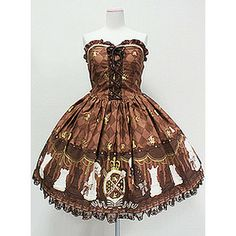 Angelic Pretty » Jumper Skirt » Chess Chocolate Bustier-style JSK in Brown