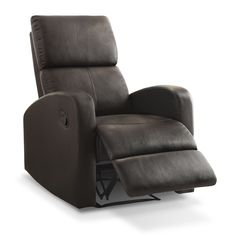 Smooth Contours. The cozy Benning recliner is also a living room piece that boasts modern curves and smooth, dark brown leather-look upholstery. Perfect for providing an extra seat in your den, you can also place several Bennings next to each other for chic home theatre-style seating. And if that wasn