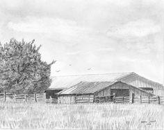 Original Farm Art Graphite Pencil Drawing Byhalia by barrysart