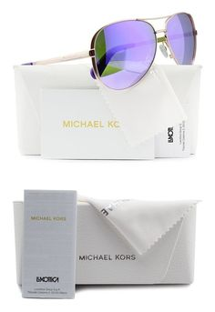 96c9878917  74.98 - Michael Kors MK5004 Chelsea Aviator Sunglasses Rose Gold w Purple  Mirror (1003