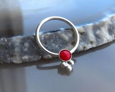Coral Septum Ring   Coral Jewelry  Coral Nipple Ring  Coral