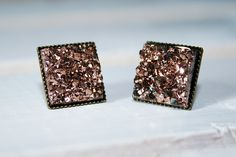 Rose Faux Druzy Square Earrings | Cali Boutique | FREE U.S. Shipping!