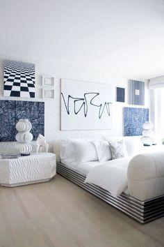 Kelly Wearstler blue and white bedroom, graphic, interior design, modern art… Beach House Bedroom, Dream Bedroom, Home Bedroom, Bedroom Decor, Bedroom Artwork, Bedroom Modern, Bedroom Colors, Bedroom Wall, Bedroom Ideas