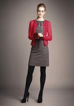 Grey dress with cardigan