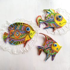 Polymer Clay Fish, Polymer Clay Sculptures, Wall Sculptures, Fish Wall Art, Talavera Pottery, Wedding Gifts For Couples, Colorful Fish, Tropical Fish, Homemade Christmas Gifts