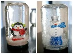 Idea 6: These are easier than they seem. You just glue a Christmas figure to the lid of a jar, add water to the the top, get glycerin and add a drop of that, pour in some glitter, then if you don't want bubbles then you add more water to the top and screw on the lid. SIMPLE!!!