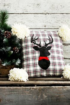 Start the Christmas season off with this great Flannel Deer Christmas Pillow! Make this as a gift for someone or decoration at home. Christmas Sewing, Christmas Deer, Christmas Pillow, Rustic Christmas, Christmas Time, Black Christmas, Country Christmas Decorations, Holiday Decorating, Flannels