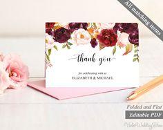 Marsala Thank you card Template. Printable Marsala Thank you Card. Burgundy Floral Blush Thank you card. Folded Thank you card. Flat PDF by VioletWeddingStore on Etsy