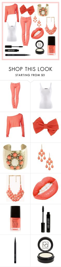 """""""A very coral color day"""" by mckenzie-cool ❤ liked on Polyvore featuring Ralph Lauren, Maurizio Pecoraro, Gerard Yosca, 2b bebe, Forever 21, Lord & Berry, Bobbi Brown Cosmetics and Paula Dorf"""