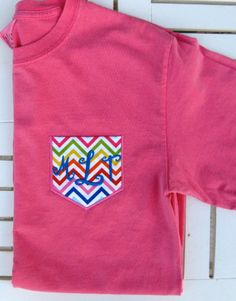 Toddler/Youth Monogrammed Pocket  (Chevron or Other Fabric)  Tee Short or Long Sleeve