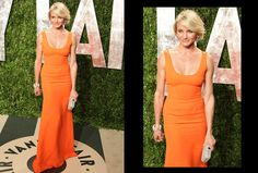 Cameron Diaz's natural hair and make-up is perfection against this full-length orange gown.