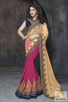 Appear really very stunning with graceful yellow and dark pink net designer party saree with discount. It is fashionable with latest designed blouse pattern. #partywearsaree, #netsaree, #onlinesareeshopping, #embroiderysaree, #discountoffer, #georgettesaree, #bollywoodsaree,   #actressstylesaree, #pavitraafashion, #utsavsaree http://www.pavitraa.in/store/party-wear-saree/ callus:917698234040
