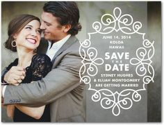 """Save the Date"" Like this simple design - you could probably find something like this but more retro too. Also you guys are hotter :)"