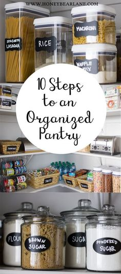 One of the best things I did this year was complete an organized pantry project. It has made it so much easier to find food and cook with it. diy kitchen ideas 10 Steps to an Organized Pantry Pantry Organisation, Diy Organization, Organized Pantry, Pantry Ideas, Food Pantry Organizing, Organizing Ideas For Kitchen, Pantry List, Getting Organized At Home, Organizing Labels