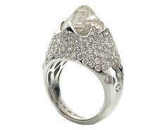 Iceberg Cocktail Ring - 11.01 rough diamond + 3.27 pave in 18k white gold