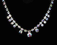 Rainbow Iris Glass Rhinestone Necklace  Prong Set STones in