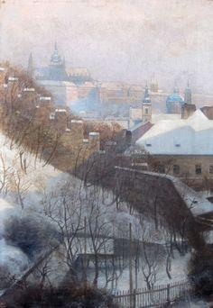 Prag im Winter Ölgemälde von J.Setelik 1900