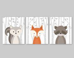 Baby Boy vivero arte estampados de Animal de bosque por YassisPlace